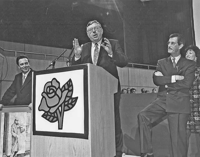 1990 - Jim Kemmy and the DSP Merger.    Jim Kemmy joined the Labour Party in 1963 and was elected to the Administrative Council 1968-'71. He became embroiled with Stephen Coughlan TD over issues of anti-semitism, family planning and Northern Ireland and set up the Democratic Socialist Party in 1982. Kemmy was elected Dáil Deputy in 1981, 1982, 1987 and in 1991 became Mayor of Limerick. In May 1990 the DSP merged with the Labour Party.