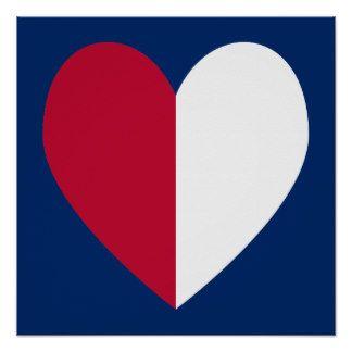 Rotes weißes und blaues Herz Poster