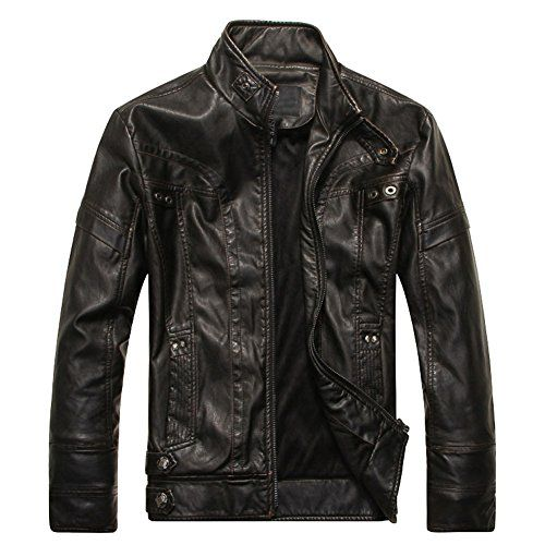 "Linyuan Men""s Cool Stand Collar PU Leather Jacket Plus Velvet Moto Coats Rider J… – amazonmode"