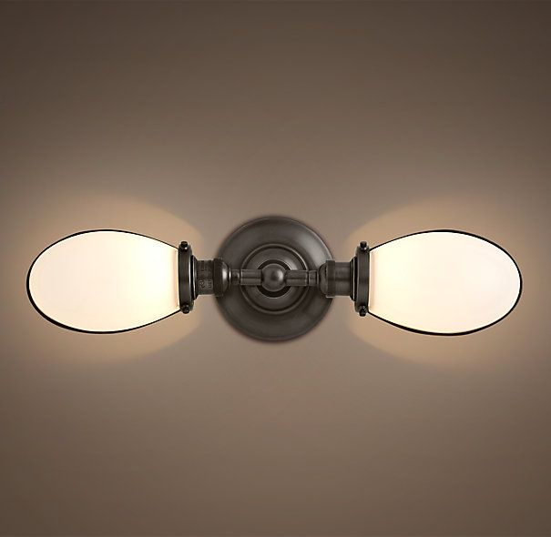 vintage english oval double sconce back bathroom light above window