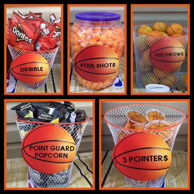 My son's 12th Birthday Basketball Theme I labeled food items with Basketball decor and put the items in $1.00 store trashcans made to look like basketball nets!