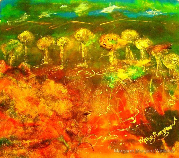 The richness of the Australian landscape (silk paint, raw silk and gutta on silk)