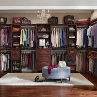 U Shape Dark Brown Wooden Closet With Many Shelves Also Drawers Combined Pole For Hanging Best Systemsdiy
