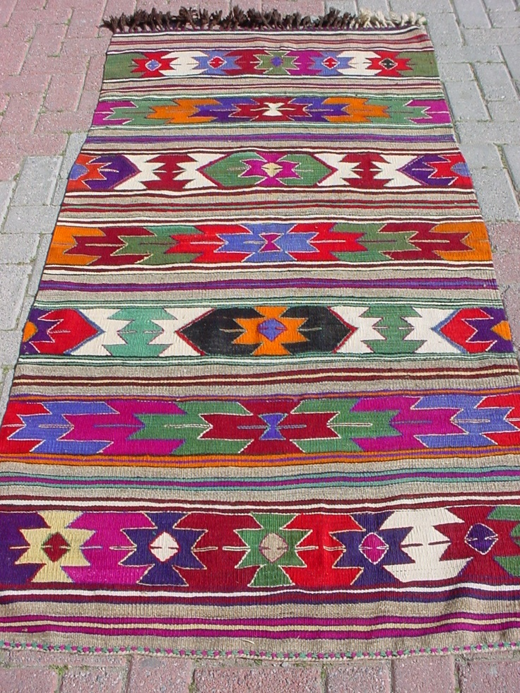 "VINTAGE Turkish Kilim Rug Carpet, Handwoven Kilim Rug,Antique Kilim Rug,Decorative Kilim, Natural Wool  38,9"" X 74,8"". $229.00, via Etsy."