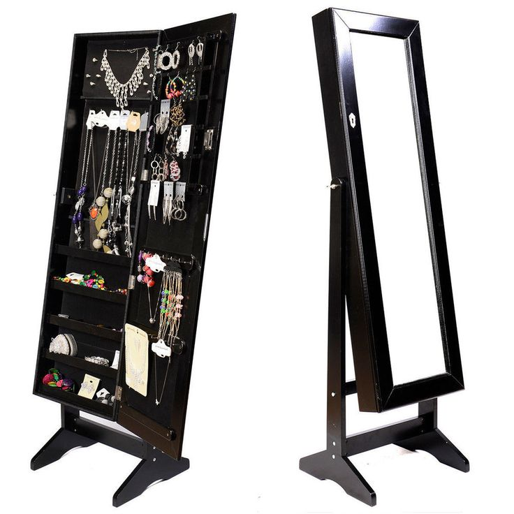 New Mirrored Jewelry Cabinet Armoire Black W/Stand Mirror Rings Necklaces  Brace