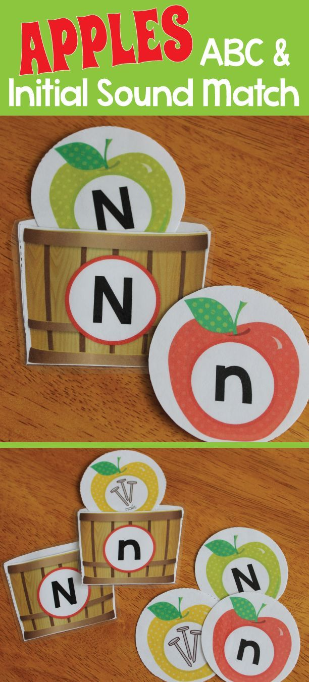 Apple theme and Johnny Appleseed activities for preschool, pre-k, kindergarten and early childhood education - sort by letter or beginning sound. A great ABC and initial sound activity for literacy centers.