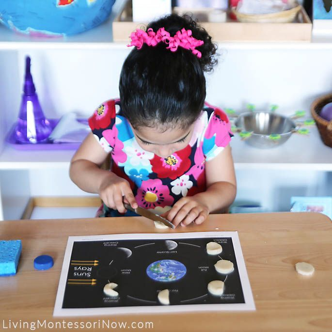Phases of the moon with playdough.