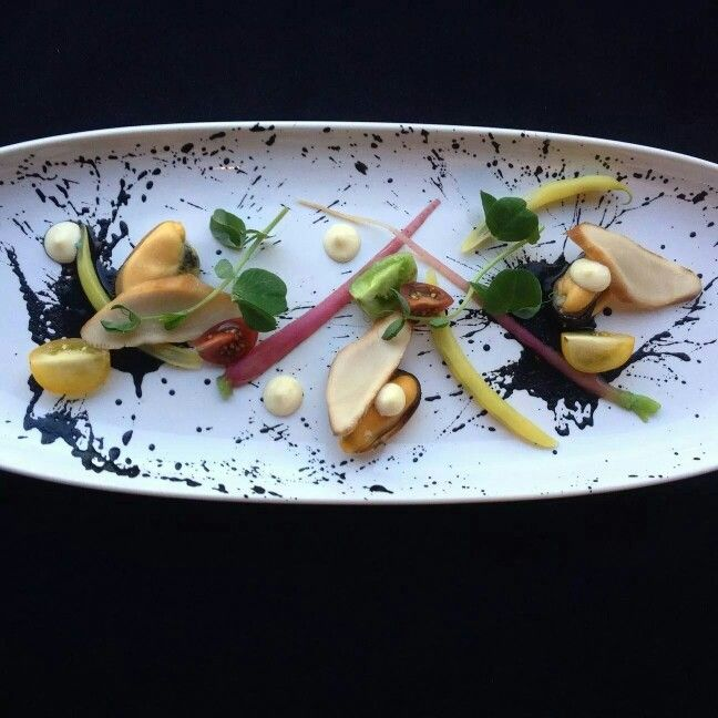 Salt Spring mussels, smoked Albacore tuna, olive puree and fresh local garden vegetables #localfood | Pacific Gateway Hotel YVR