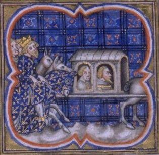 Bataile de Bouvines - 1214 - Philippe-Auguste ramenant ses prisonniers - Grandes Chroniues de France - XIV-XVème siècle - BNF Paris
