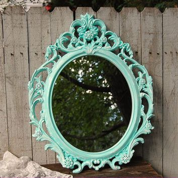 mint green and silver sparkle bedroom | Mirror, Shabby Chic, Baroque Mirror, Mint Green, White, Oval, Upcycled ...