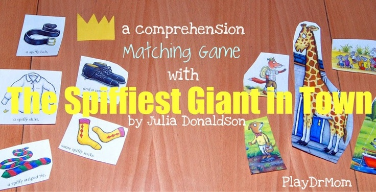 PlayDrMoms Comprehension Matching Game for The Spiffiest Giant in Town, by Julia Donaldson