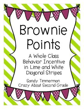Brownie Points  A Whole Class Behavior Incentive in Lime and White Diagonal Stripes