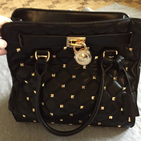 Micheal Kors Black Hamilton Quilted Studded Tote Micheal Kirs black Hamilton quilted studded tote Michael Kors Bags Totes