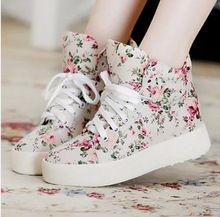 Femmes chaussures mode toile chaussures femmes plate - forme toile imprimé floral cheville bottes chaussures coins chaussures P5A104(China (Mainland))