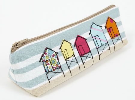 Embroidered Beach hut pencil make-up case