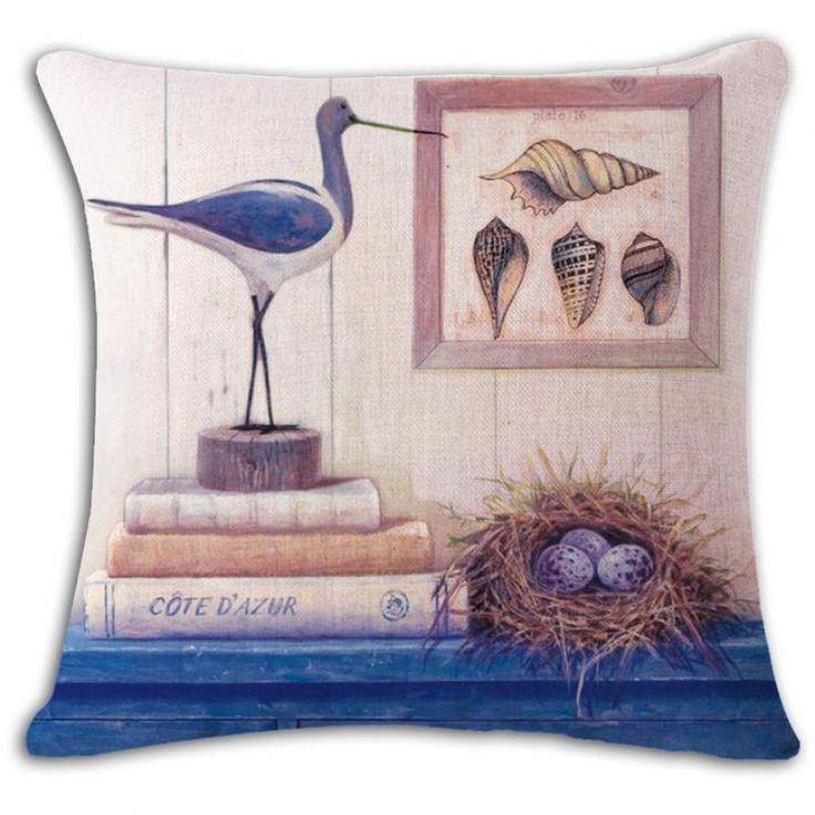 45*45 Cm Mediterranean Illustration Decorative Cotton Linen Throw Pillow Living Room Sofa Office Chair Back Cushion #Affiliate