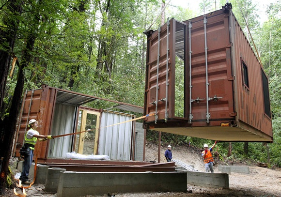 2 story shipping container mountain retreat in northern california building structures with. Black Bedroom Furniture Sets. Home Design Ideas
