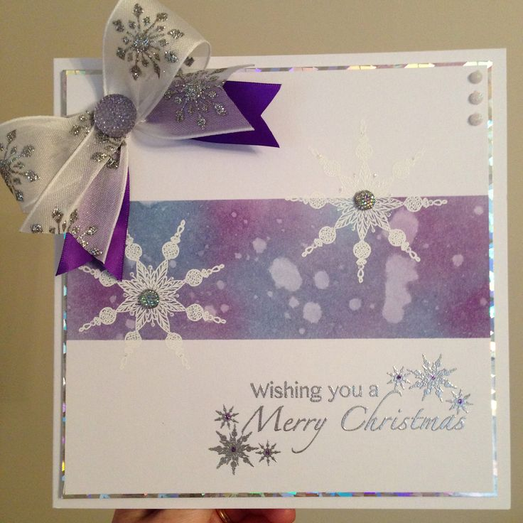 Christmas card , ink shaded with water splatter , snowflake stamp by Chloe