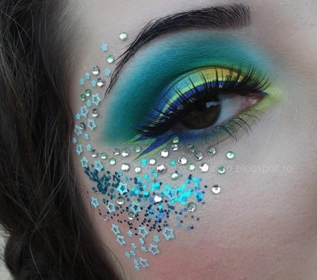 Blue and green mermaid style eye makeup