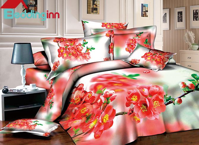 Gorgeous Red Peach Blossom Print Pastoral Style 4-Piece
