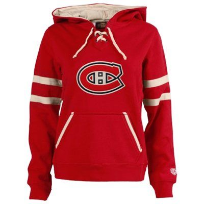 Women's Montreal Canadiens Old Time Hockey Red Grant Lace-Up Slim Fit Hoodie