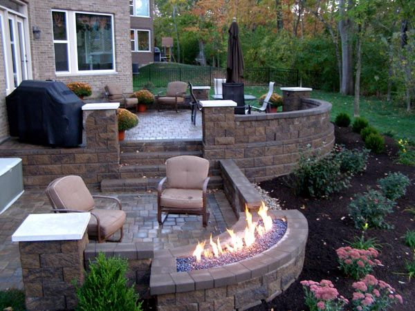 backyard patio, patio chairs, umbrella, gas firepit, Back Yards, Patio, Stairs, Fire Pits / Fireplaces, Curves, Posts, Walls  Courtyard