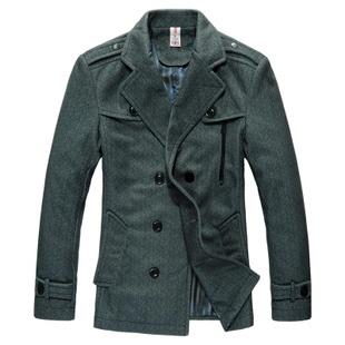 Осенью и зимой взрыва моделей корейской версии нового мужские шерстяные куртки и длинные участки тонкий стильный отдых погонах мужской лацкане пиджака - Taobao
