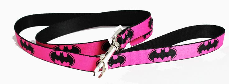 Pets and Purses - Pink and Black Batman Signal Seat Belt Buckle Dog Collars or Leash, $18.00 (http://www.petsandpurses.com/pink-and-black-batman-signal-seat-belt-buckle-dog-collars-or-leash/)