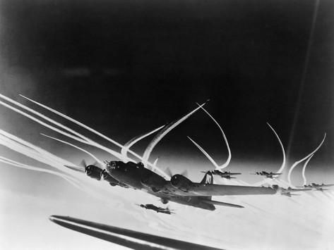 Sub-Stratospheric Vapor Trails of B-17 Flying Fortresses of the U.S. Army 8th Air Force Photo