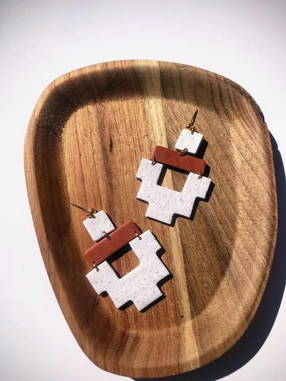 Red Aztec Handmade Polymer Clay Earrings