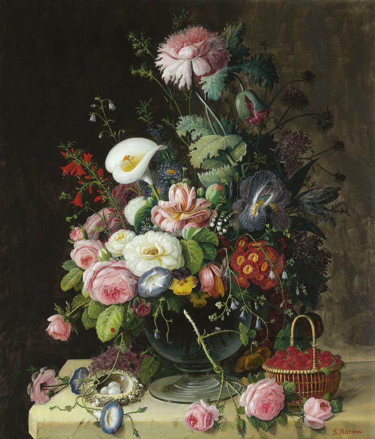 SEVERIN ROESEN (1815-1872) STILL LIFE, VASE OF FLOWERS