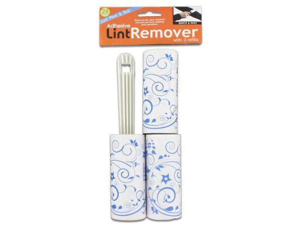 Lint Remover with Refills Set, 48 - Whether there are pets in the home or you just want to keep lint at bay, lint removers are essential. These easy-to-use removers easily remove lint, dust, dandruff and pet hair from clothing and upholstery. Simply tear off sheet when it's full and keep rolling. Roller comes with one full roll and 2 refill rolls. Comes packaged in a poly bag with a header card.-Colors: white. Material: plastic,paper,adhesive. Weight: 0.3958/unit