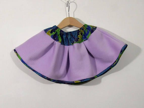 Baby girl skirt purple lilac fleece and wax cotton curled