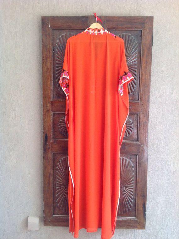 Sheer orange caftan long tunic dress beach wear resort wear