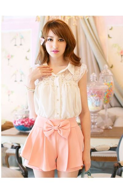 Pink Bow Skirted Shorts (also available on Yesstyle, brand Tokyo Fashion http://www.yesstyle.ca/en/tokyo-fashion-tie-waist-cutout-trim-pleated-culottes-salmon-one-size/info.html/pid.1030971027)