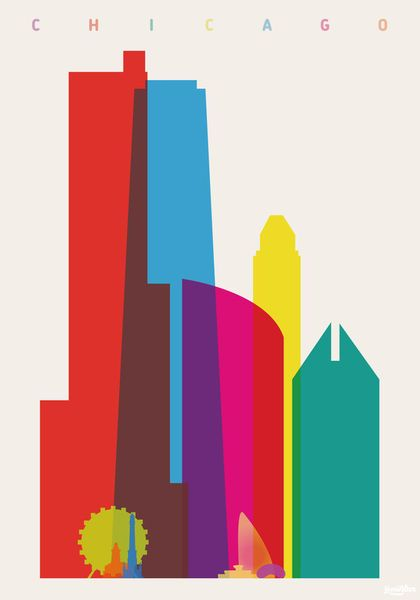 """""""Shapes of Chicago in Scale"""" Graphics/Illustration art prints and posters by Yoni Alter - ARTFLAKES.COM"""