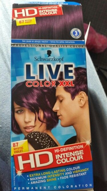 The purple hair dye is on. Mystic Violet.