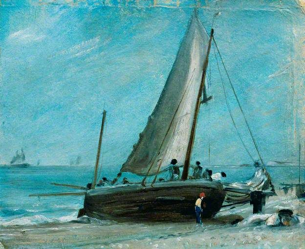 Brighton Beach, with Fishing Boat and Crew by John Constable, 1824.    Date painted: 1824