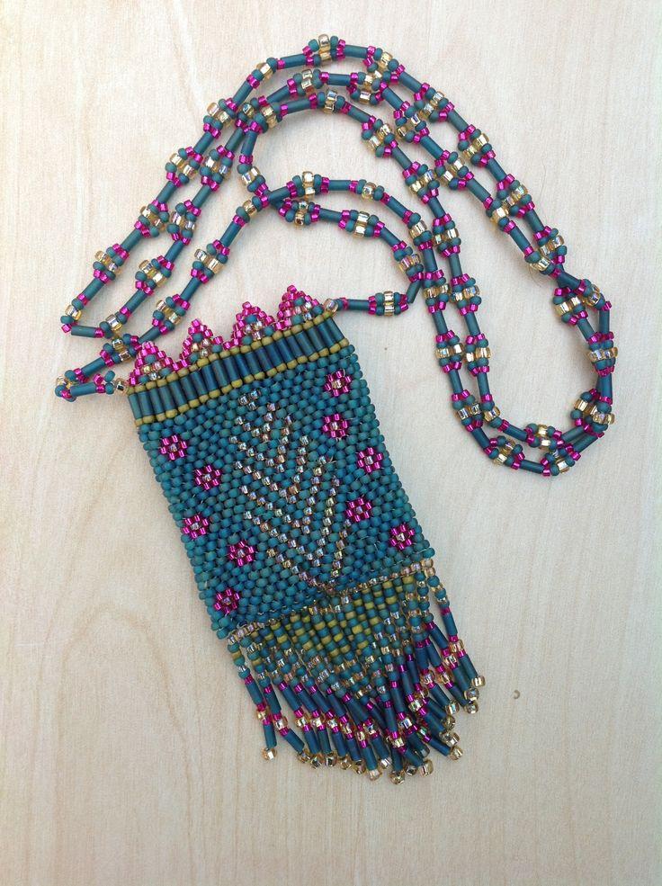 Beaded neck purse