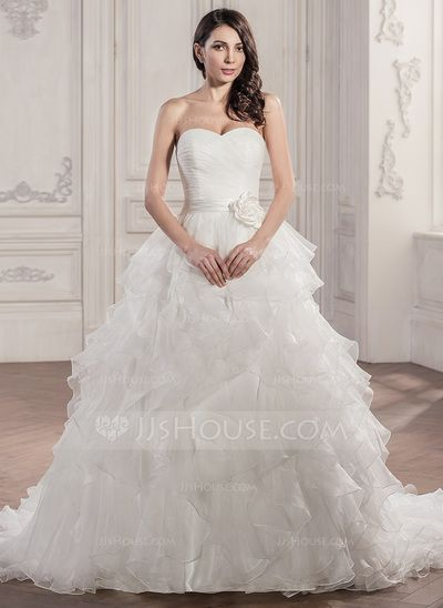 Ball-Gown Sweetheart Chapel Train Organza Satin Wedding Dress With Ruffle Flower(s) (002056950)
