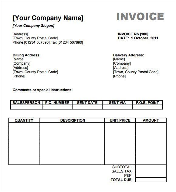 Billing Invoice Templates 18+ Free Printable Xlsx  Docs Format