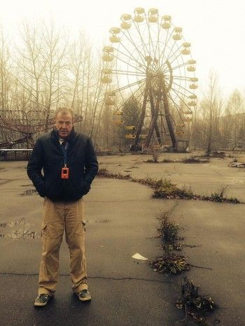 Jeremy Clarkson in a photo  taken at Chernobyl's Pripyat amusement park. (justjezza/Tumblr) season 21 #TopGear  (Yes,the boys did take a guided tour through a chunk of the Chernobyl disaster area,Season21 Episode 3)
