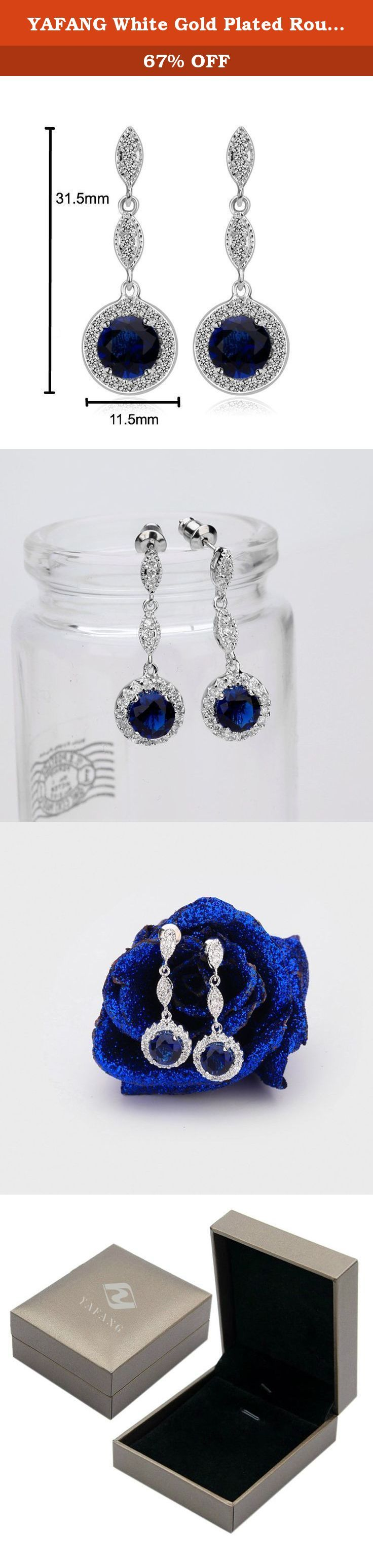YAFANG White Gold Plated Round AAA Cubic Zirconia Blue Sapphire Dangle Earrings. Metal Material We're using 100% eco-friendly gold-plated copper and alloy which are fade-proof and anti-allergy, suitable for even the most sensitive skin types. Gemstone Selection The gemstones we carefully selected are all above AAA quality clear zircon and Austrian imported Swarovski elements crystal with high purity, unparalleled surface glossiness and refraction. Polishing Methods Most of the gemstone...