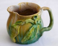 REMUED Australian pottery jug Gumnuts & Gumleaves with twig branch handle