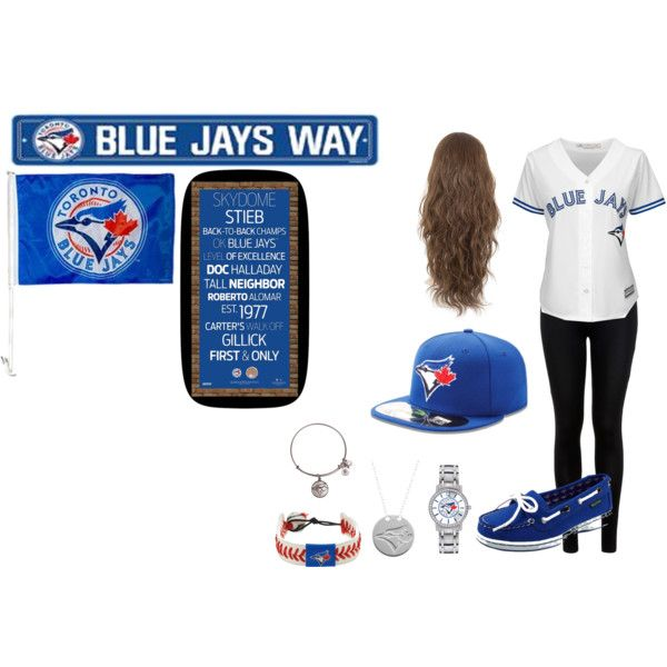 BLUE JAYS ⚪️⚪️⚪️⚪️ by danaayoub24 on Polyvore featuring polyvore, fashion, style, Majestic, Miss Selfridge, Eastland, Alex and Ani, GameWear, Game Time and Steiner Sports