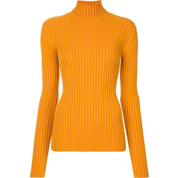 Le Ciel Bleu ribbed knit jumper ($138) ❤ liked on Polyvore featuring tops, sweaters, orange, jumpers sweaters, rib knit sweater, rib knit top, ribbed knit top and orange top