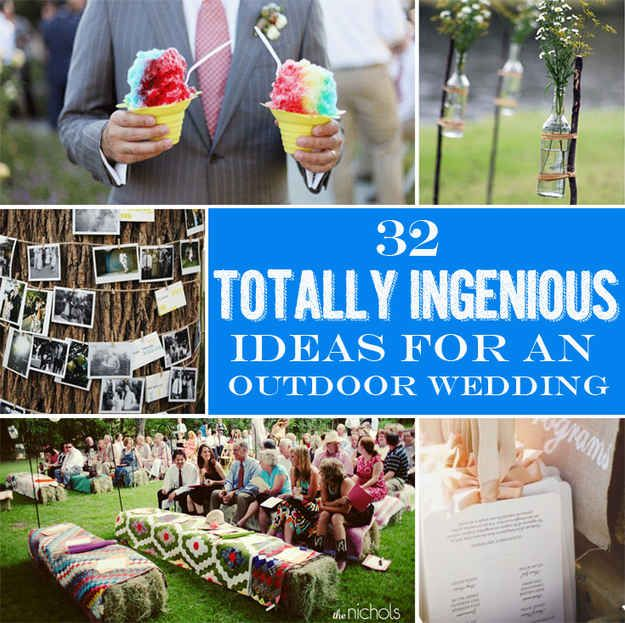 32 Totally Ingenious Ideas For An Outdoor Wedding - BuzzFeed Mobile. Good ideas. I like the parasols and the fan programs, but if you provide sunscreen, bug spray, sunglasses, etc for all of your guests that will get crazy expensive.
