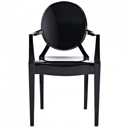 philippe starck ghost black plastic armchair the ironic take on the classic louis xv armchair