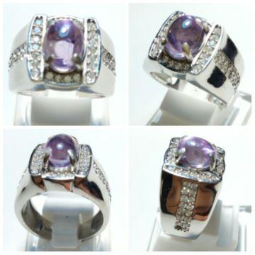 NATURAL MINI KECUBUNG (AMETHYST) BUNGUR TANJUNG BINTANG HQ Weight : 10 crt (est)DIM. (mm) : 8 7 x 5mmCut : CabochonShape : OvalColour : light purpleComment : -Ring : Perak 925 micro settingSize : 19Keterangan Batu :-Kondisi Batu Mulus 99%-Tidak Sopel-Tidak Baret dipermukaan-Luster, kristal dan warna bagus-Inclution/serat/tanda dalam batu itu wajar-Batu dijamin NATURAL atau ASLI 100% (apabila terbukti sintetik pada saat di LAB kan, uang kembali 100% tanpa ada biaya pemotongan)
