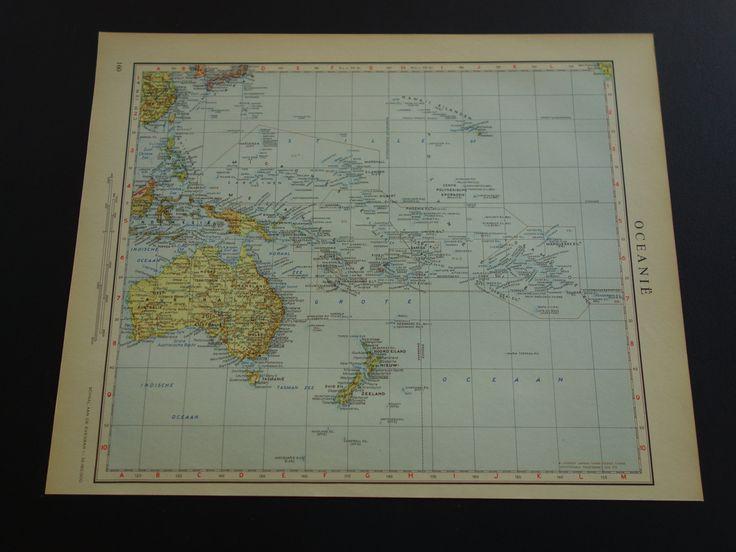 "Old vintage map of Oceania - 1950 Dutch retro poster - Australia Pacific ocean Indonesia - Oceanie Oceanien Australien - 10x13"" (26x33c ) by DecorativePrints on Etsy"